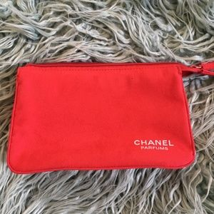 Chanel Parfums Red Suede Makeup Clutch
